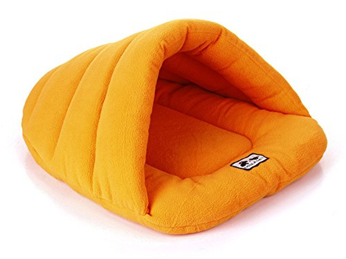 Pet Dog Crate Cat Kitten Cave Keep Warm Winter Bed House Sleeping Bag Plush Mat Pad Nest Size Large (Orange)