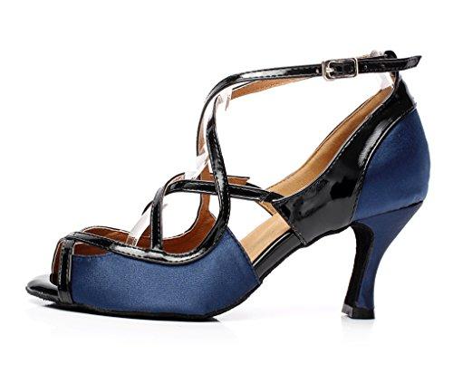Inches Ballroom 3 Heel Sandals Latin Blue Dance QJ6180 Minitoo Satin Women's E6twxtZqY