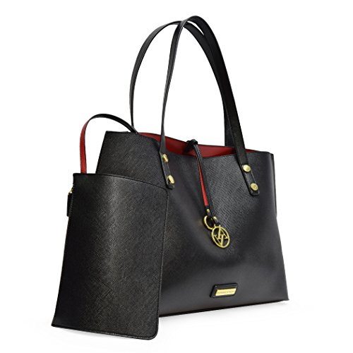 Adrienne Vittadini The Caroline Collection Shopper Tote with Accessory Pouch (Black) Adrienne Vittadini Collection