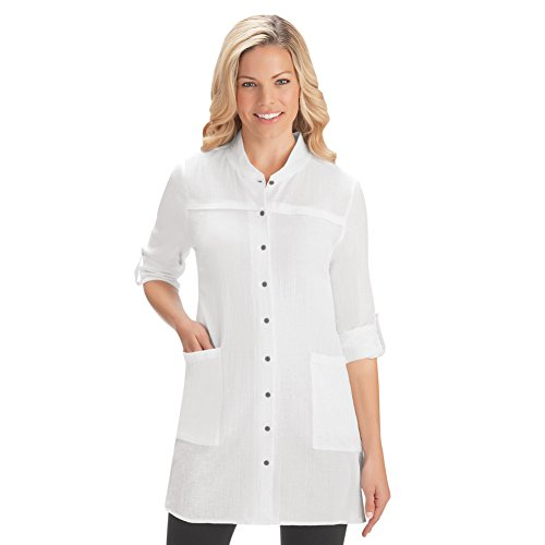 Women's Crinkle Gauze Pocket Tunic Top with Roll Tab Sleeves for Work, Casual Attire, White, Large