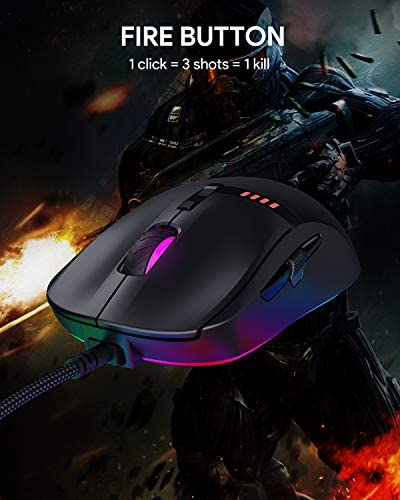 AUKEY Knight Gaming Mouse, RGB Wired Gaming Mouse with 10000 DPI, 8 Programmable Buttons, RGB Lighting Effects, Macros, Fire Button Gaming Mice for PC and Mac 41RFbjo2ElL