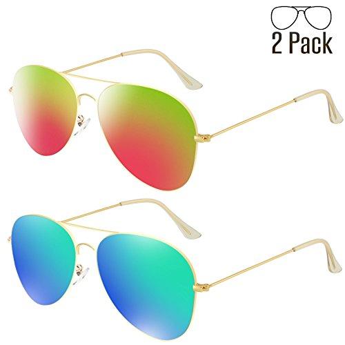 Livhò G 2 Pack of Sunglasses for Men Women Aviator Polarized Metal Mirror UV 400 Lens Protection (Blue Green+Bobbl - Mirror Aviator Sunglasses