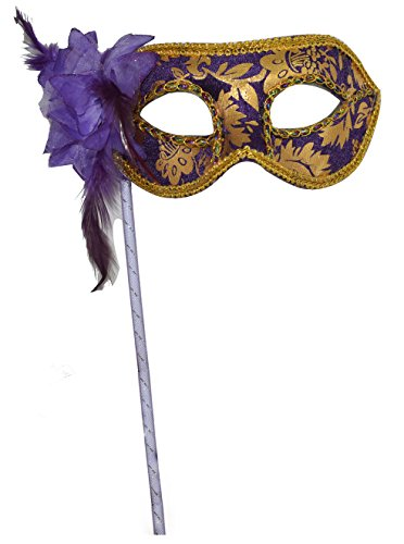 Woman's Christmas Halloween Black Purple Red White Feather Flower Plastic Masquerade Mask on Stick (On Stick Masquerade White Masks A)
