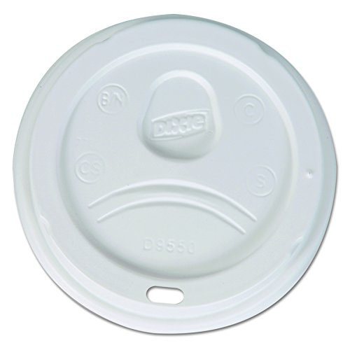 Dixie D9550 Plastic Dome Lid Fits 20 oz. and 24 oz. Dixie Paper Hot Cups, White (Case of 10 Packs, 100 Lids per Pack) -