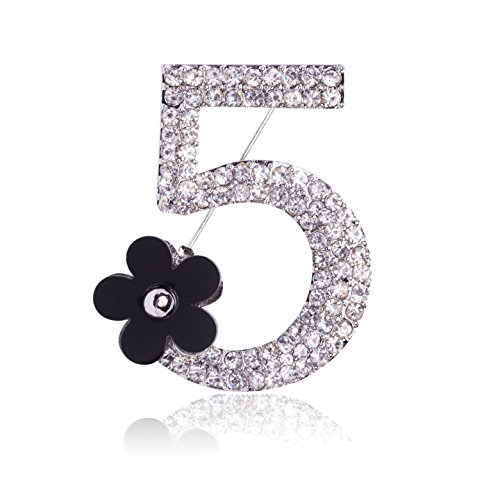 MISASHA Silver Plated Number Five Pin Brooch - Chanel Pearl Necklace