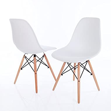 Vecelo Eames Chair Natural Wood Legs Eiffel Dining Chair/lounge Chair, Set of 2