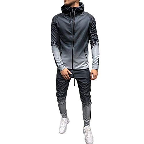 Men's 2 Pieces Gradient Outfit Set Long Sleeve Full Zip Hooded Pullover Sweater and Long Pants Set Gym Tracksuit Jogging…