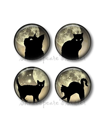 Black Cat Magnets - Fridge Magnets - Black Cat and Moon - 4 Magnets - Cat Magnets - 1.5 Inch Magnets - Kitchen Magnets - Moon (Sister Fridge Magnet)