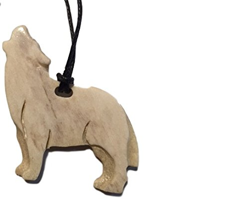 Alaskan Made Moose Antler Carved HOWLING WOLF Pendant