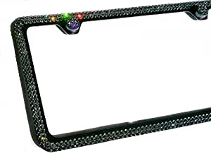 2 Row GREY CRYSTAL (on BLACK) made w/ SWAROVSKI Elements Metal Sparkle Bling License Plate Frame & Caps set