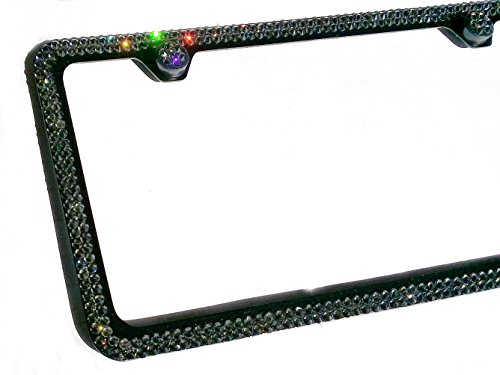 2 Row GREY CRYSTAL (on BLACK) made w/ SWAROVSKI Elements Metal Sparkle Bling License Plate Frame & Caps set -