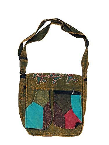 Aiko Bear Patchwork Shoulder Bag | Jayli | Grateful Dead | GD-B109 (Green)