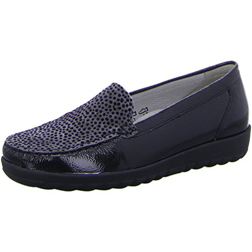 Waldlaufer Polka Dot Toe Panel Moccasin 5.5 724564°schwarz/aspha