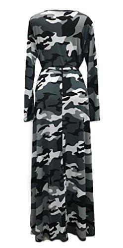 Cromoncent Femmes, Plus Camouflage Taille Manches Longues Swing Ceinture Plissée Longue Robe Gris Noir
