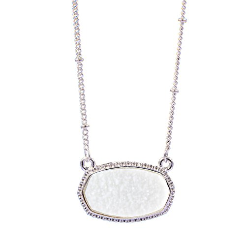 - YUJIAXU Sparkling Faux Druzy Oval Pendent Short Necklace for Women's Gift Outfit Jewelry (Silver + White Drusy)