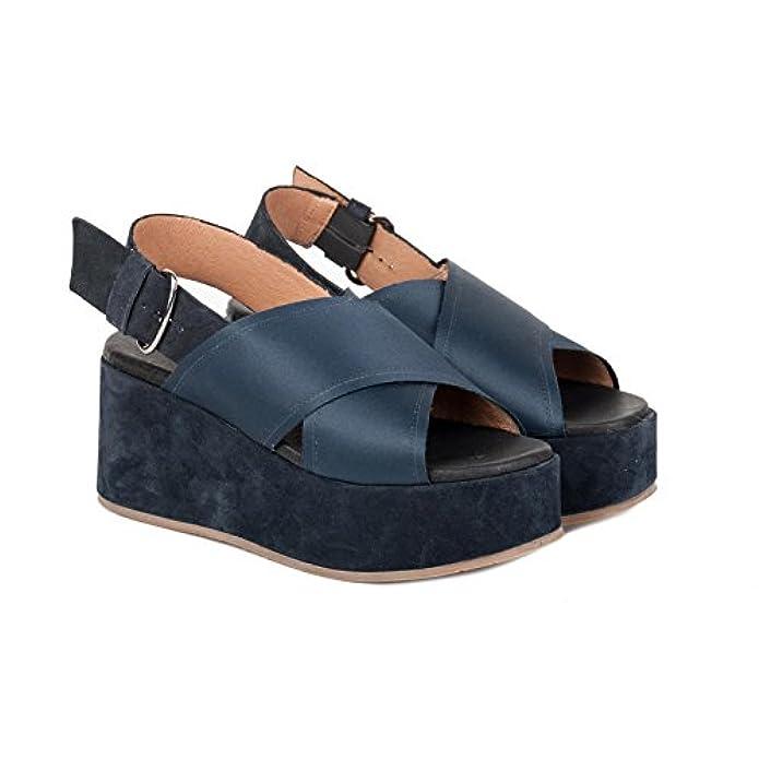 Carmens Padova Scarpe Sandalo Donna A39042 Raso Blu Pe17