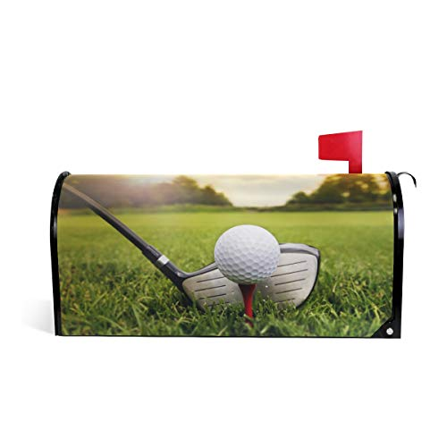 - ZZKKO Magnetic Mailbox Covers Golf Club and Ball in Green Grass Nature Forest Sunshine Letter Box Cover Colorful Painting Graden Outdoor Decorations,20.8x18 Inch Standard Size,Multicolor