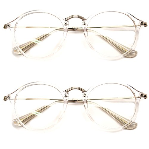 2 Pairs Classic Fashion Round Oval Circle Reading Glasses Slim Metal Temple Reader (Clear/Silver, - Reading Circle Glasses