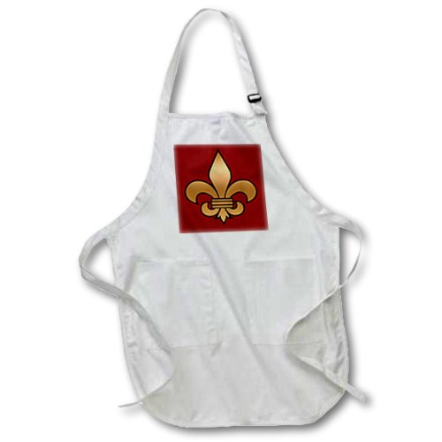 3dRose apr_30760_4 Large Black and Gold Fleur De Lis on Maroon Background Christian Symbol-Full Length Apron with Pockets, 22 By 30-Inch, Black