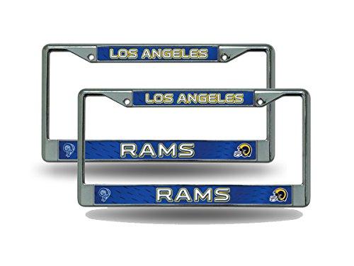 Los Angeles LA Rams Retro NFL Chrome Metal (2) License Plate Frame Set