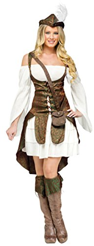 Robin Hood Ladies Fancy Dress (Funworld Womens Historic Robin Hood Theme Party Fancy Dress Halloween Costume, L (12-14))