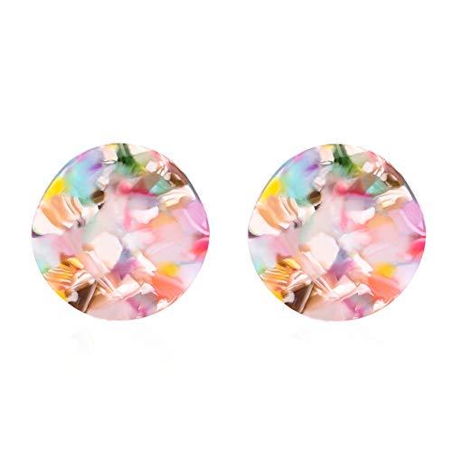 MOLOCH Acrylic Earrings for Women Girls Geometry Sinuous Resin Earrings Bohemia Tortoise Shell Earrings Mottled Statement Stud Earrings Fashion Jewelry (E-Red Floral)