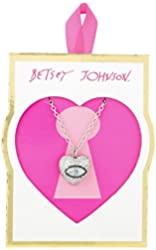 "Betsey Johnson ""Valentine's Day"" Pave Cubic Zirconia Eye Heart Pendant Necklace, 18"" + 3"" Extender"