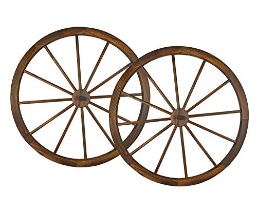 (36 in Steel-rimmed Wooden Wagon Wheels - Decorative Wall Decor, Set of Two Product SKU: PL50020)