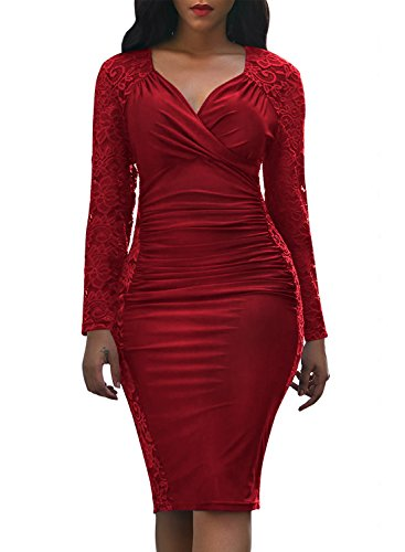 Domy Women's Formal Bodycon Dress Floral Lace Panel Ruched Sheath Dress (M, ()