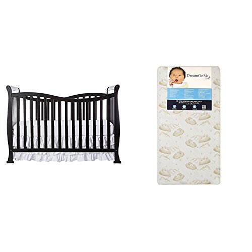 Dream On Me Violet 7 in 1 Convertible Life Style Crib with Dream On Me Spring Crib and Toddler Bed Mattress, Twilight (1 Bed)