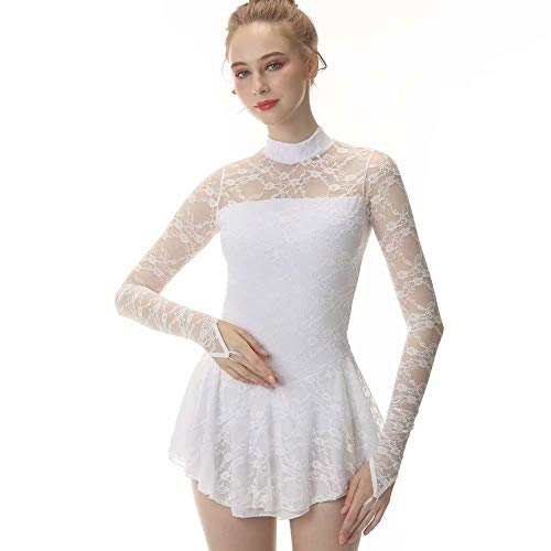 White Figure Skating Dress Fingerpoint Sleeves Ice Skating Skirt Long-Sleeved Spandex Skirt Competition Dresses
