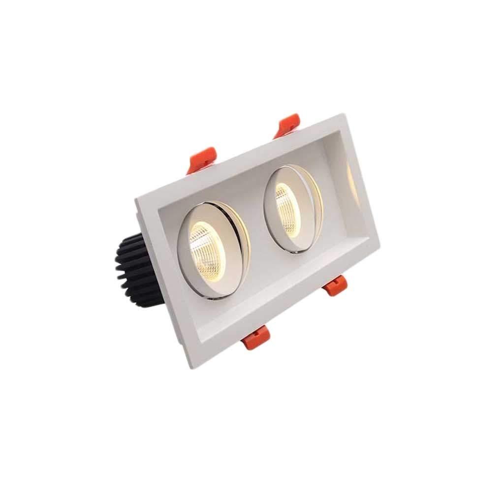 Warm Light-10w Downlight LED eingebauter Doppelkopfscheinwerfer Grünckter quadratischer L-Scheinwerfer (Farbe   Warm light-10W)