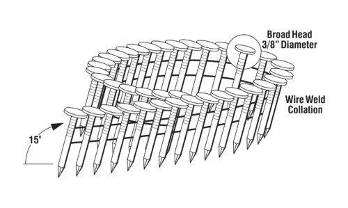 Grip-Rite GRCR19GAL 3/4-Inch by 15-Degree Wire Collated Galvanized Coil Roofing Nail (7,200 per Box)