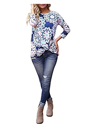 Blooming Jelly Women's 3/4 Sleeve Round Neck Geometric Pattern Shirt Floral Print Knotted Top