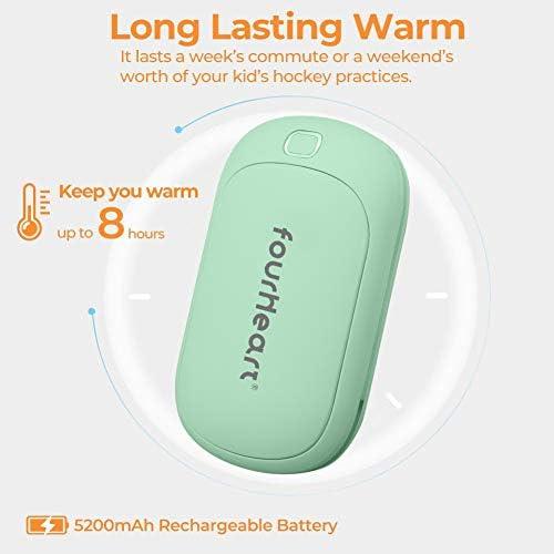 Invierno. Calienta Manos Electrico Reutilizable Calentamiento R/ápido Calentadores de Bolsillo Four Heart Calentadores de Manos USB Recargable 5200mAh Powerbank