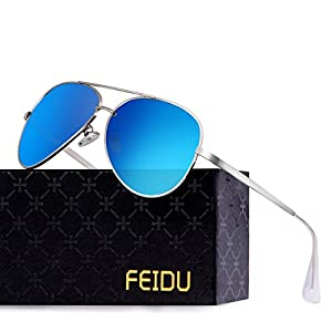 FEIDU Polarized Aviator Sunglasses for Men Driver Sun Glasses Unisex FD9009(Blue/Silver)