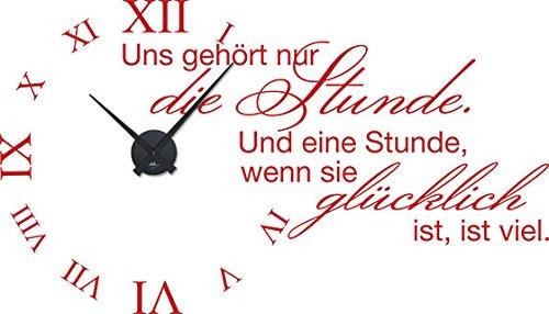 GRAZDesign 800495_BK_031 Tattoo Wanduhr inkl. Uhrwerk Wanddeko für Wohnzimmer Spruch Stunde glücklich (100x57cm    031 rot    Uhrwerk schwarz)