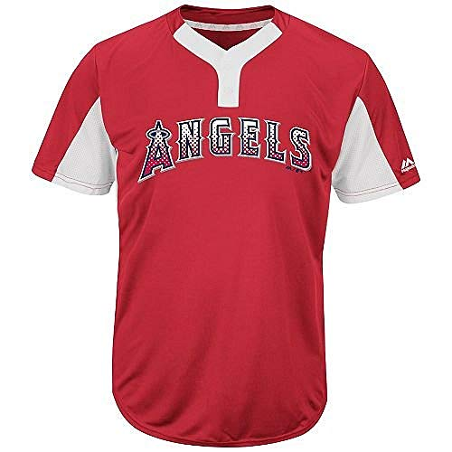 Majestic Blank Back Adult Large Los Angeles Angels 2-Button Placket Cool-Base MLB Licensed Jersey Red/White