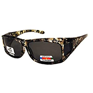 Unisex Camouflage Sun Shield Fit Over Sunglasses Polarized - Wear Over Prescription Glasses - Cover Over Glasses - Size Medium in Light Green Camo (Microfiber Pouch Included)