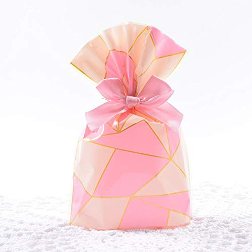 (SOMADE Cello Bags Candy Plastic cellophane Treat Favor Bags,Pink Lattice,Pack of 100 )