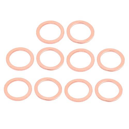 uxcell 10pcs 32mm x 24mm x 2mm Flat Ring Copper Crush Washer Sealing Gasket - Flat Ring Gasket