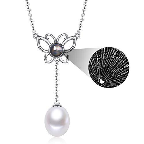 Fine Jewelry Women Gifts for Women 925 Sterling Silver and Teardrop Pearl Pendant Necklace Dancing Butterfly