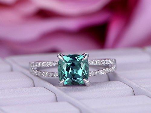 Cushion Alexandrite Engagement Ring Pave Diamond 14K White Gold Split Shank 7mm ()