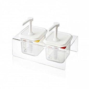 Araven - Set 2 dispensadores de salsas 12,6 litros y soporte