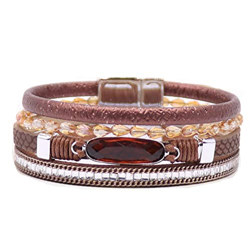 KSQS Boho Multilayer Leather Wrap Bracelets Gorgeous Handmade Braided Wrap Cuff Magnetic Buckle Casual Bangle for Women&Girl Gift by - Crystal Eternity Bangles