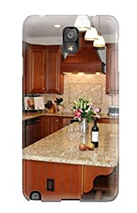 Awesome Design Beige Kitchen Features Granite Counters Tumbled Marble Backsplash And Center Island Hard Case Cover For Galaxy Note 3