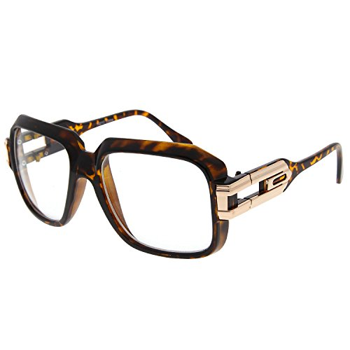 Tortoise Large Sun Glasses Grandmaster Clear Lens Classic RUN DMC Retro Square Frame - Run Dmc Frames Glasses
