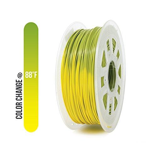 Filamento PLA de 3 mm (2,85 mm) Gizmo Dorks 1 kg / 2,2 lb para impresoras 3D, cambio de color verde a amarillo