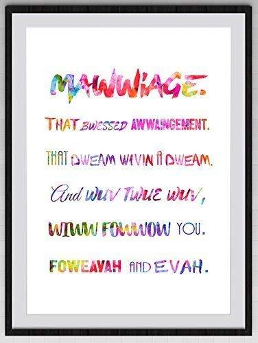 Amazoncom Princess Bride Mawwiage Quote Watercolor Art Print 1