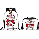 iPrint 19' School Backpack & Lunch Bag Bundle,Freddie Mercury Decor,Famous Rock Singer Freddie Mercury Band Queen Iconic Figure Cartoon Decorative,Multicolor,for Boys Girls